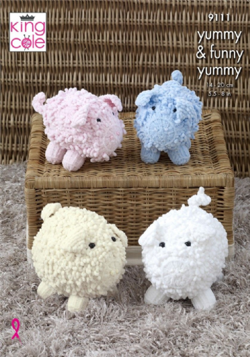 King Cole Toy Pig & Piglet  Yummy Chunky Knitting Pattern 9111